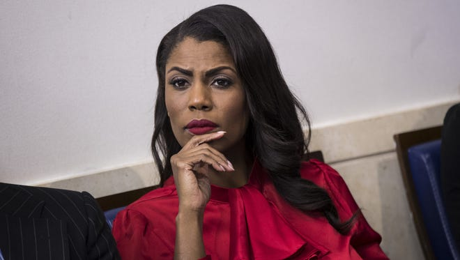 Omarosa Manigault Newman at a press briefing at the White House, Oct. 27, 2017.