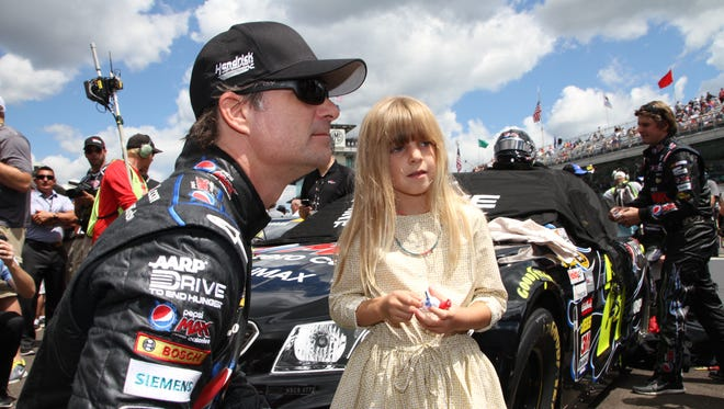 Jeff Gordon recently let his daughter Ella race a quarter-midget car in a closed practice session.