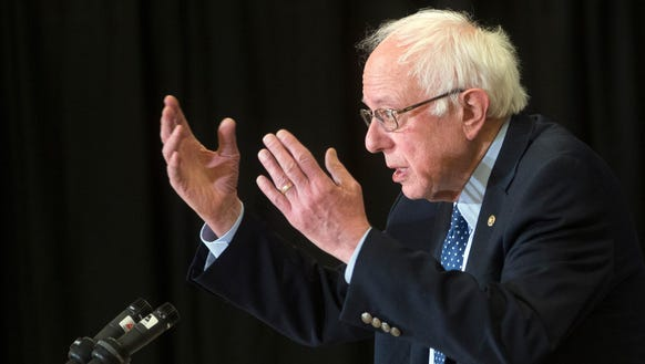 Bernie Sanders speaks during a news conference on Feb.