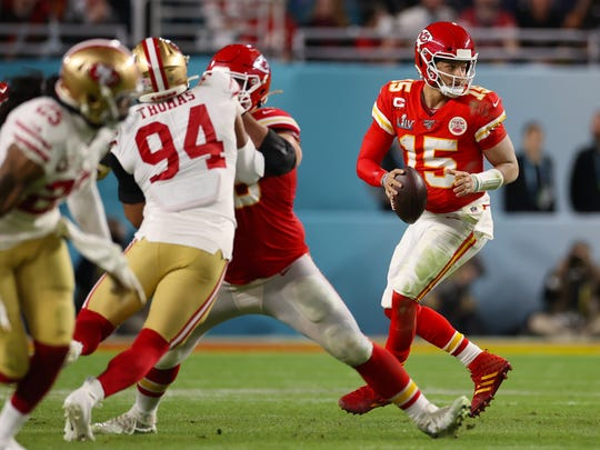 Feb 2, 2020; Miami Gardens, Florida, USA; Kansas City Chiefs quarterback Patrick Mahomes (15) in the pocket in the second half against the San Francisco 49ers in Super Bowl LIV at Hard Rock Stadium. Mandatory Credit: Matthew Emmons-USA TODAY Sports