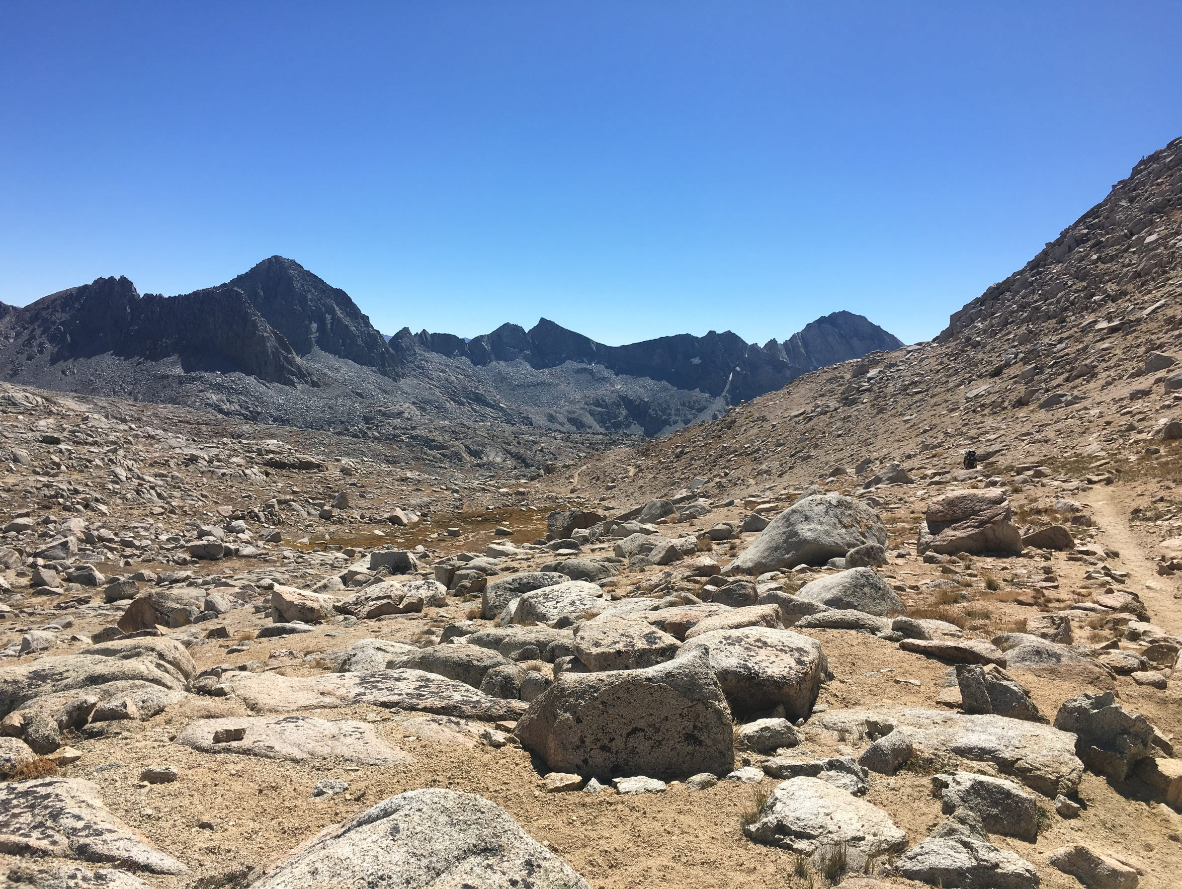 View from Bishop Pass looking west toward Dusy Basin,