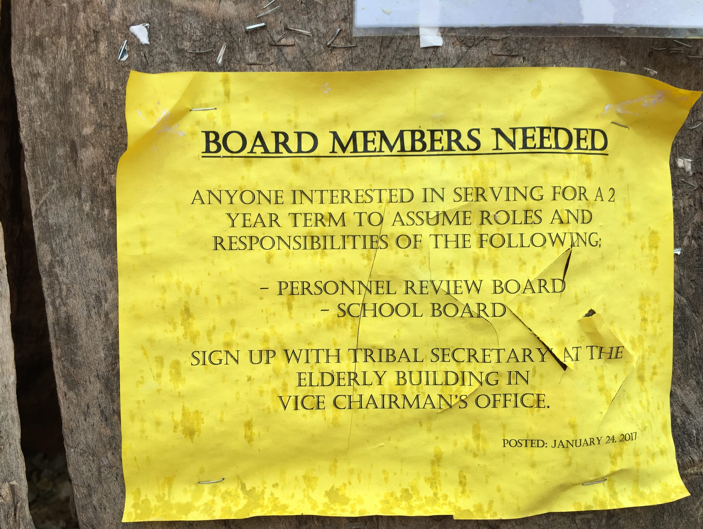 A flier outside Havasupai Elementary School announces