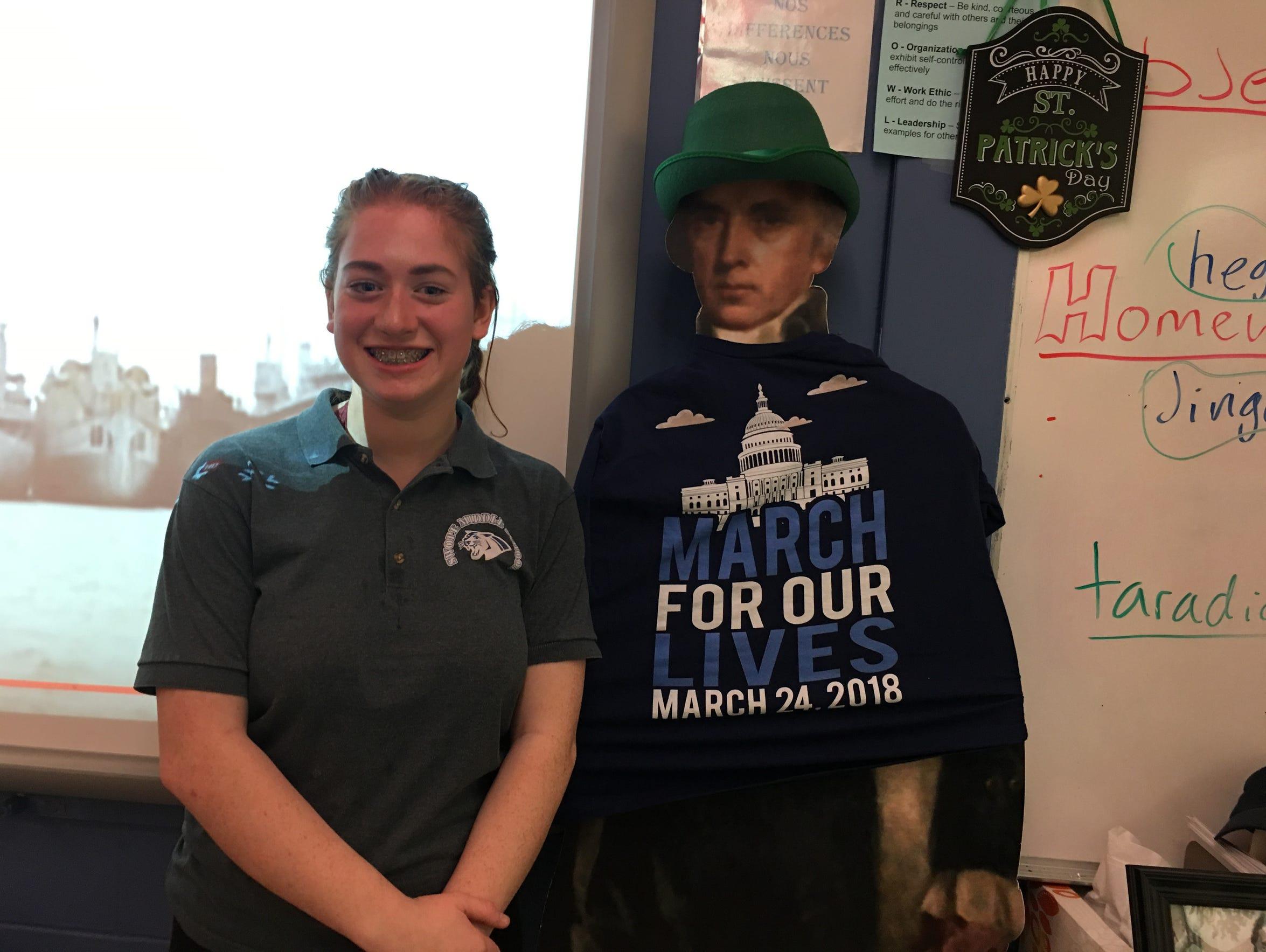 Elizabeth Shepherd stands in her history class at Swope