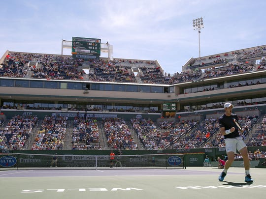 Andy Murray celebrates a point at the BNP Paribas Open