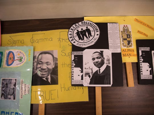 Signs made by students used for the Dr. Martin Luther King Jr. March for Humanity at Shippensburg University on Thursday, Feb. 2, 2017.