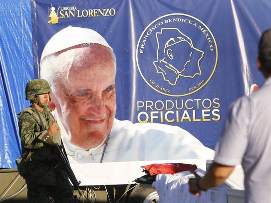 Heavy security is present near Pope Francis' Mass on