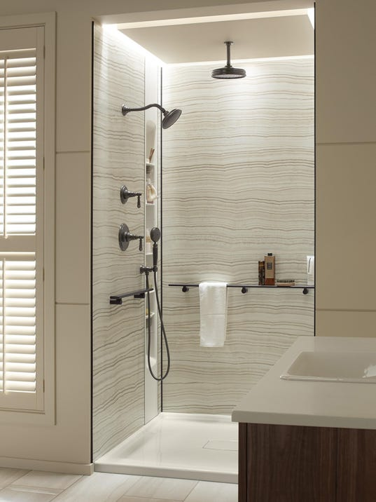 Plumber: Shower custom shower stall with accessories