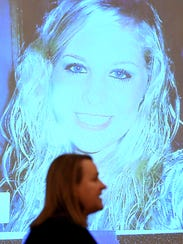 A photo of Holly Bobo is shown on the projector for