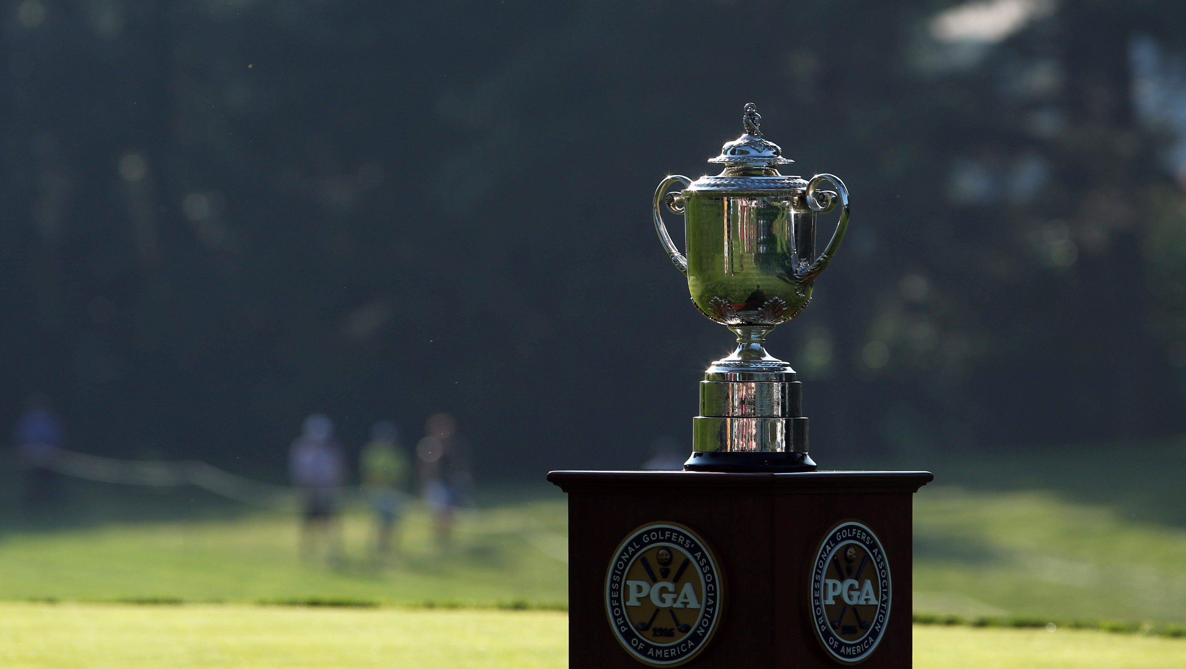 A view of the Wannamaker Trophy during the first round of the 95th PGA Championship at Oak Hill Country Club.