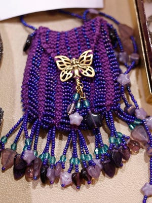 """A crochet-beaded bag is part of the Oregon State Fair's inaugural """"Bring Your Bling!"""" exhibit on display in the Jackman-Long Building."""