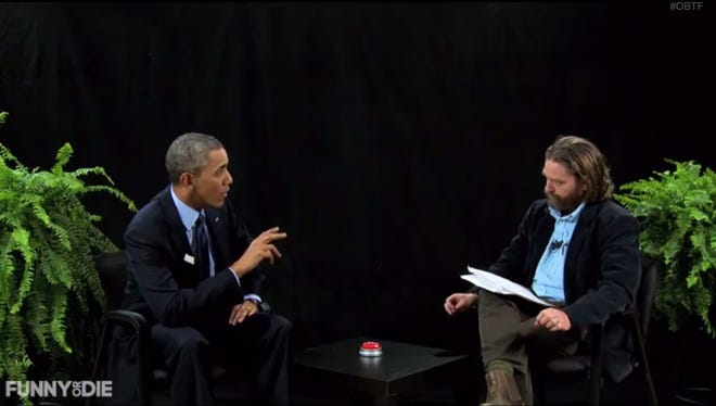 "President Obama, left, and Zach Galifianakis chat ""Between Two Ferns."""