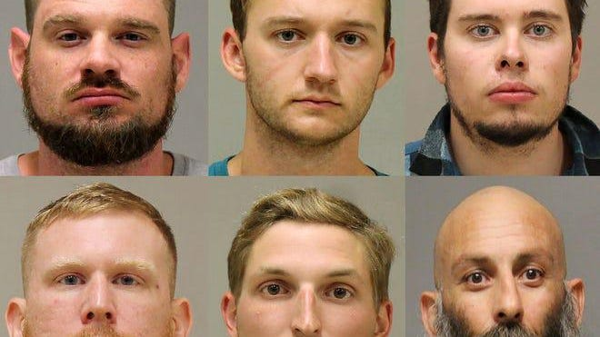 Defendants from left top row: Adam Fox, Kaleb Franks and Ty Garbin; second row: Brandon Caserta, Daniel Harris and Barry Croft.