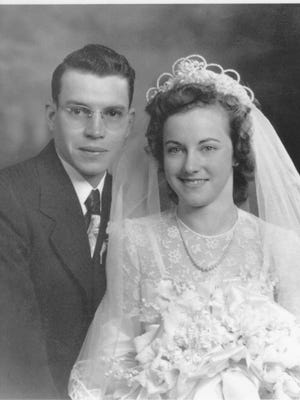 Earl J. Halfmann and Mary Ann Glass were married Jan. 5, 1949, and moved to their farm near Vancourt, where they still live.