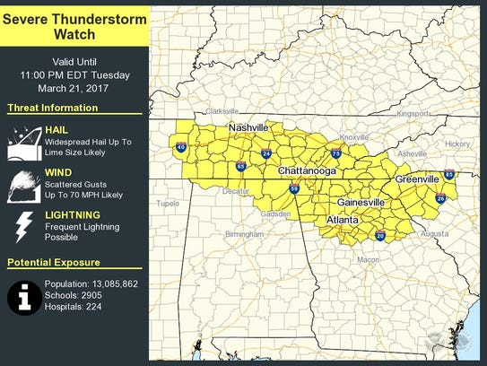 Much of Tennessee is under a severe thunderstorm watch