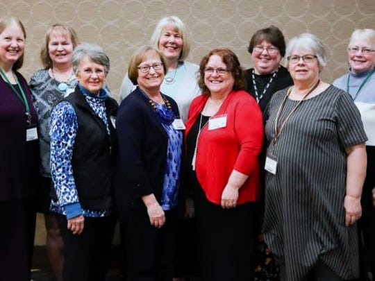 "Farmers' Advance contributors Gail Malick and Shari Konkel (left) with the rest of the ""Hesperia Girls"". Front: Carol Frens, Bev Smith, Nancy Johnson, Jean Sherman; and back: Laurie Norris, Peggy Deuling, and Shirley Carson."