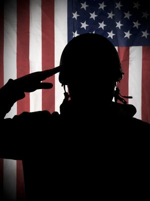 American soldier saluting to USA flag
