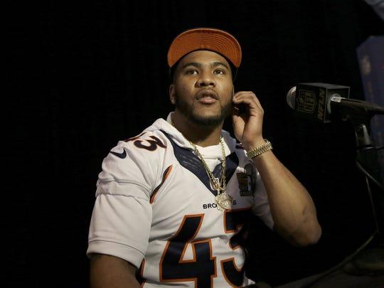 Denver Broncos strong safety T.J. Ward (43) speaks to reporters in Santa Clara, Calif. on Thursday. AP