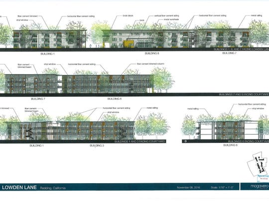 This design shows the proposed look of a senior housing project by Central California Housing Corp.