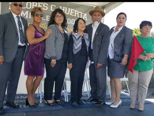 SUHSD board of trustees, from left, Carlos Rubio, Sandra Ocampo, Evamarie Martinez, Dolores Huerta, Philip Taberna, Patty Padilla-Salsberg, and Lila Cann. Not pictured: Kathryn Ramirez.