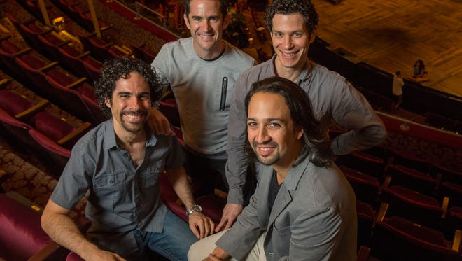The creative team behind the Broadway musical 'Hamilton' in New York:  musical director Alex Lacamoire ( left) , choreographer Andy Blankenbuehler (back left), director Thomas Kail, (back right) and chief creator and star Lin- Manuel Miranda.