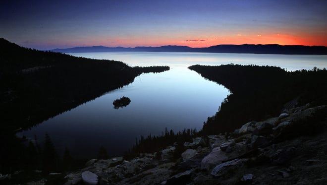 A file photo showing Lake Tahoe at dusk.