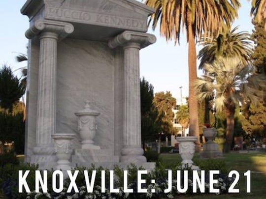 Unsure whether they'd ever be able to legally marry, Orin Kennedy and Bernardo Pucci purchased this 12-foot marble monument in the Hollywood Forever Cemetery to commemorate their longtime bond. A documentary about the couple's lives will premiere in Knoxville June 21 as a fundraiser for Positively Living.