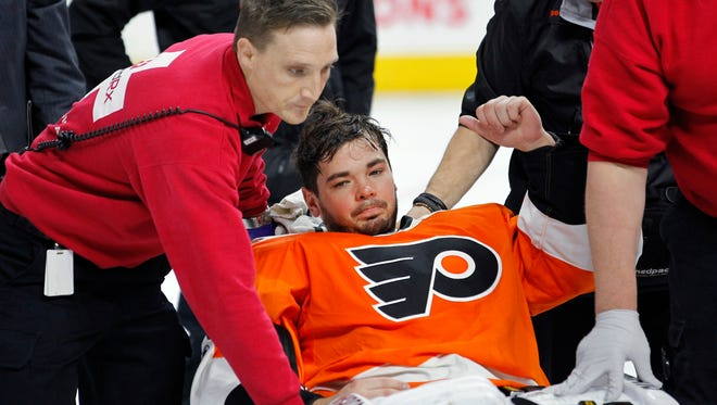 Flyers goalie Michal Neuvirth, who passed out on the ice Saturday, was released from the hospital a day later.