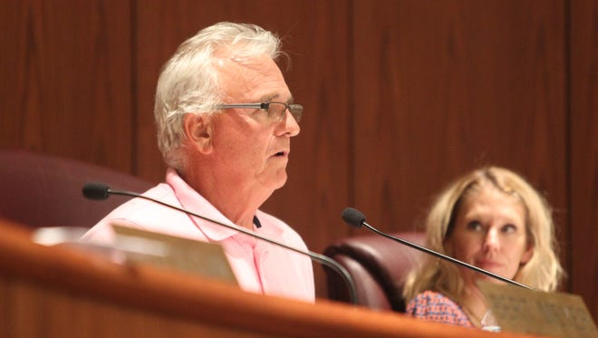 Planning Commission Chair Rick Bosetti speaks Tuesday during a public hearing on a controversial proposal for a gas station in east Redding.