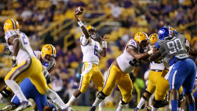 LSU quarterback Brandon Harris (6) passes the ball in the Tigers' 41-3 win over Kentucky on Saturday. Harris didn't complete a pass and threw an interception.