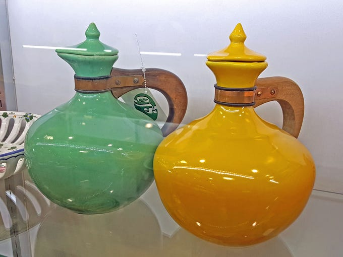 These two Bauer California pottery Mid-Modern teapots
