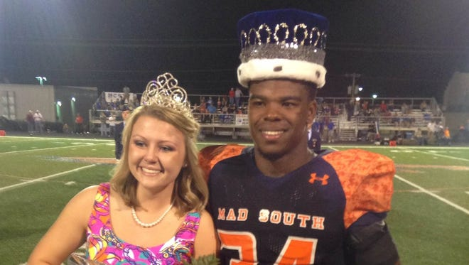 Madison Southern's Damien Harris was named Homecoming King during a game in which he ran for 7 touchdowns in a win over South Laurel