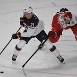 Red Wings' Dylan Larkin assists twice as U.S. beats Denmark at Worlds
