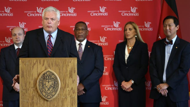 University of Cincinnati's new Dir. Public Safety James Whalen speaks to the media during a press conference introducing the new public safety team, which is part of pending reform in the wake of Samuel DuBose's killing by a UC police officer during a routine traffic stop. From left: current police chief Jason Goodrich, new Dir. Police Community Relations S. Gregory Baker, new VP for Safety and Reform Robin Engel and Pres. Santa Ono.