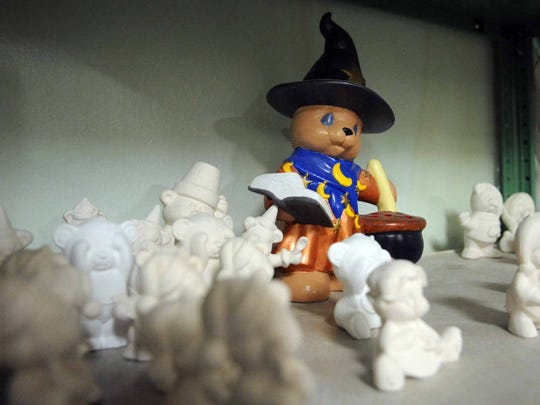 Bears, holiday items, cats, dogs and other pieces can all be painted at the Clay Station.