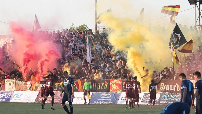 Detroit City FC midfielder Cyrus Saydee (10) celebrates his goal against the Milwaukee Torrent during the first half Friday, May 12, 2017 at Keyworth Stadium in Hamtramck.