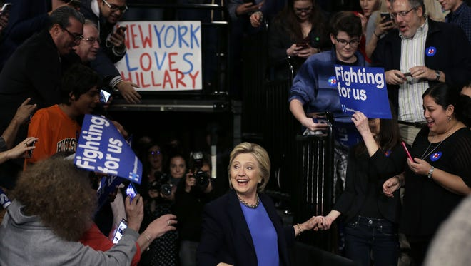 Democratic presidential candidate Hillary Clinton arrives for a rally Thursday in Purchase, New York.