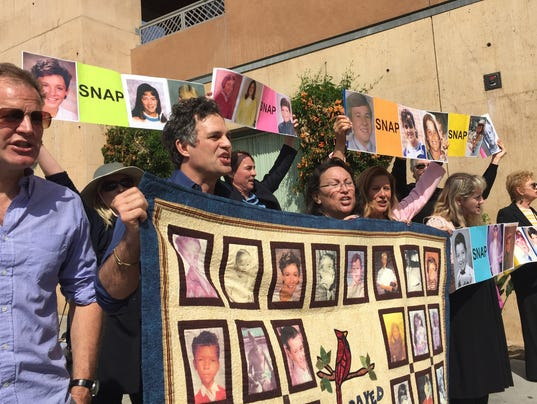 Mark Ruffalo rallies with victims of sexual abuse