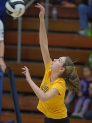 Hagerstown's Regan Tinkle hits the ball during the