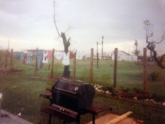 The backyard at my parents house was barren after Hurricane Andrew blew away trees and fences.