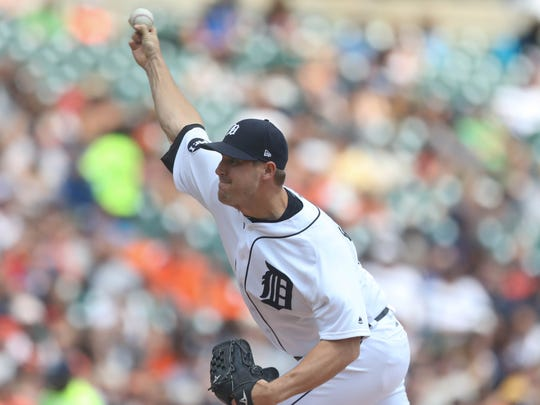 Warwick Saupold pitches against the Pirates in the fourth inning of the Tigers' 7-5 loss Thursday, Aug. 10, 2017 at Comerica Park.