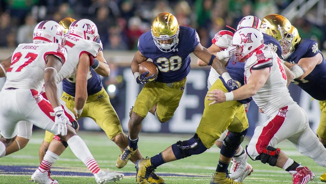 Notre Dame running back Deon McIntosh (38) was sent home from the Citrus Bowl.