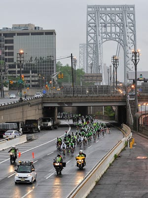 More than 5,000 bicyclists will take part in the fourth annual Campagnolo Gran Fondo New York on Sunday, May 18, which will travel through Rockland. Pictured are cyclists leaving the race's starting point at the George Washington Bridge.