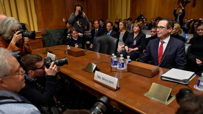Steven Mnuchin, nominee for secretary of the Treasury, appears before the Senate Finance Committee for his confirmation hearing on Jan. 19, 2017.