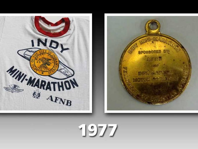 T-shirt and medal for the inaugural Mini-Marathon in 1977.