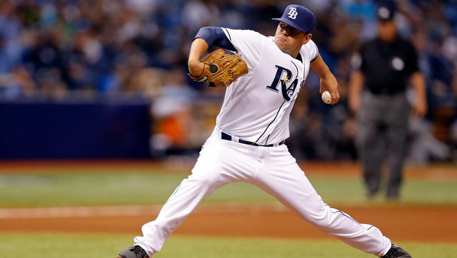 Tampa Bay Rays relief pitcher C.J. Riefenhauser makes his major league debut, throwing in the seventh inning against the New York Yankees on Saturday in St. Petersburg, Fla.