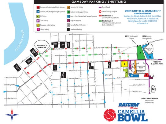 Parking and shuttle map for Camellia Bowl 2016.