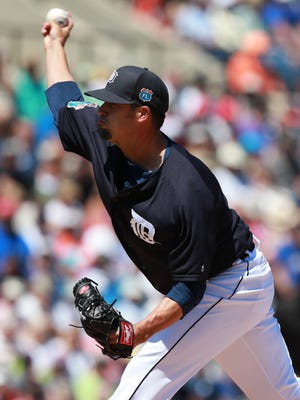 Mar 22, 2016; Lakeland, FL, USA; Detroit Tigers pitcher Dustin Molleken (96) throws a pitch during the first inning against the Toronto Blue Jays at Joker Marchant Stadium.
