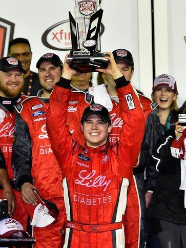 Ryan Reed celebrates winning the Alert Florida 300,