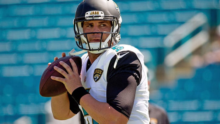 Blake Bortles #5 of the Jacksonville Jaguars warms up before the game against the Indianapolis Colts at EverBank Field on September 21, 2014 in Jacksonville, Florida.