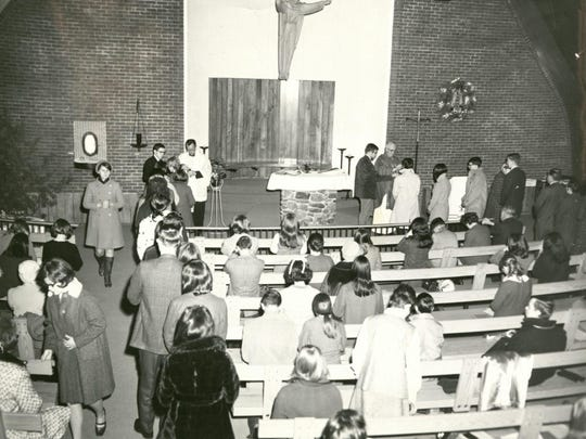A Mass is celebrated at The Catholic Center chapel in the 1960s.